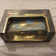 Burago 1:18 Scale Bugatti EB110 1991 Blue Diecast Model Car - RARE IN BOX - USED
