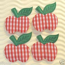 """US SELLER - 50 x 1"""" Padded Gingham Cotton Apples w/Leaf Appliques for Bows ST127"""