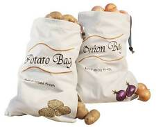 Set of 2 Sprout-Free Vegetable Bags Holder Potato Onion Food Storage canvas New
