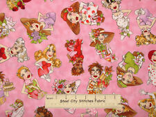 Loralie Harris Designs Fast Women Girl Gal Fashion Toss Pink Cotton Fabric YARD