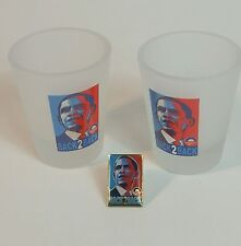 44th President Barack Obama Frosted Shot Glass Hope Lapel Pin Yes We Can