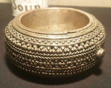 Rajasthan silver bracelet coin jewelry dish bowl coaster vtg india tribal art