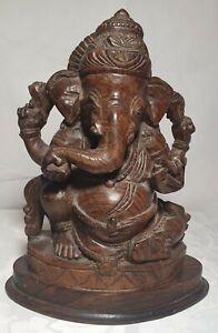 Vintage Hardwood Carved GANESHA - HINDU DEITY - Ganesha - 27cm tall -