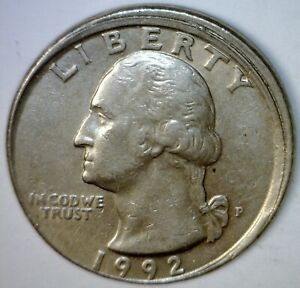 1992 ERROR OFF CENTER Washington Quarter Coin NICE O/C Lot #1   NR