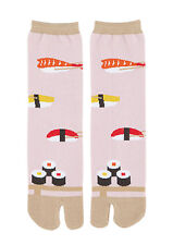 NEW Japanese Unisex Split Toe Tabi Socks Sushi on Pink Made in Japan