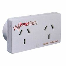 HPM AUDIBLE 2-OUTLET SURGE PROTECTOR ADAPTOR w/ Buzzer & Visible Alarm White