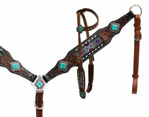 Showman® Headstall and breast collar with beaded inlay