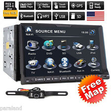 HD Touch Screen Double 2DIN 7'' Car Stereo DVD MP3 Player BT GPS Radio USB+CAM