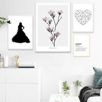 flower feather poster quotes scandinavia style wall art canvas