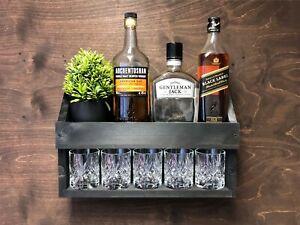 Rustic Personalised Wooden Rum Whisky Whiskey Shelf Rack Drinks Home Bar (WBL)EM