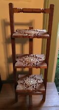 Vintage hand Made Inlaid & carved Shesham Wood Folding Shelves