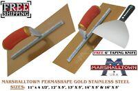 """Marshalltown Plasterers Gold SS Finishing Trowel Durasoft PLUS 6"""" Taping Knife"""