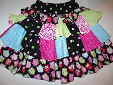 Handmade Ruffled Owl Twirl Skirt & Purse Pink Black Blue Green 6 7 8 Lot G7