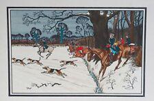 Harry Eliott Lithographie, gravure Vènerie. Chasse à courre. Chasse au sanglier