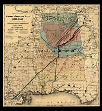 "1848 MAP Alabama, Tennessee River Rail Road, Quality Print, AMERICA, 20""x 20"""