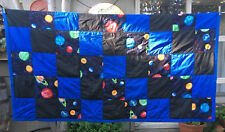Handmade Patchwork Quilt Throw Blanket Black Blue Outer Space Celestial Planets