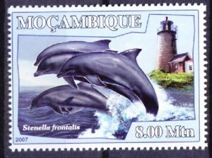 Mozambique 2007 MNH, Atlantic spotted Dolphin, Lighthouse, Marine life