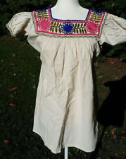 Maya Mexican Blouse Top Shirt Embroidered Flowers Chiapas Off-White Small 309