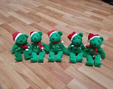Lot (5) Bamm Beanos Baseball Holiday Green Christmas Bears