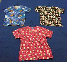 Lot Of (3) Size X-Small and Small Scrub Tops Scooby-Doo Dogs Cats Shirts