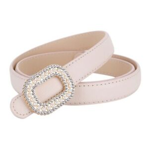 Women Pearl Shiny Rhinestone Buckle Skinny Soft Genuine Leather Belts Waistband