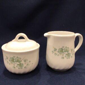 Corelle Coordinates Calloway Ivy Swirl Callaway Stoneware Sugar Bowl & Creamer