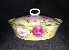 Antique Limoges Artist Signed Covered Vanity / Candy Dish Hand Painted Roses