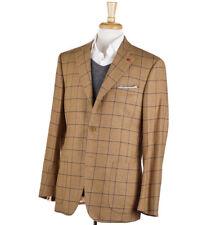 NWT $3195 ISAIA Camel Tan Windowpane Check Flannel Wool Sport Coat 42 R