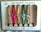 """5 VTG Sears Icicle Teardrop Mercury Glass 3 3/4"""" Ornaments Imperial Collection"""