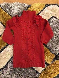 Girls Red Jumper Dress 3-4 Years VGC