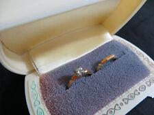 Vintage 14K Gold Diamond Engagement and Wedding Ring Set 2.4 grams & Box (270)