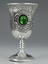 Chinese Tibet silver inlay jade hand-decorated Cup