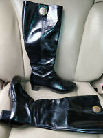 Gucci Hysteria Patent Black Leather Knee High Boots Shoes Booties Heels 202942