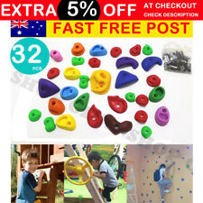 32 pcs Indoor Rock Climbing Stones Hand Hold Wall Climb Plastic Kit Kids Toys AU