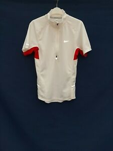 Nike white /Red Running Cycling Jersey Top Dri Fit side pockets 1 zip pocket sm