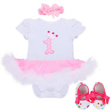 Baby Girls' 1st Birthday Tutu Romper Dress Outfit With Headband Shoes Pink