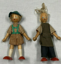 "Antique Wooden Peg Jointed Dolls Figures German ? Polish ? Folk Art 7"""