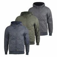Mens Jacket  Crosshatch Diamond Quilts Hooded Coat