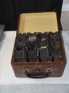 """12 slide projector slide retainers 6"""" projector ready in custom leather case"""