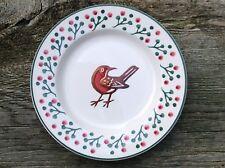 "EMMA BRIDGEWATER rare Christmas . Mark Hearld Robin . 8-1/2"" PLATE . Spongeware"