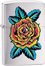 Zippo Rose Flower Tattoo Brushed Chrome WindProof Lighter NEW 29399