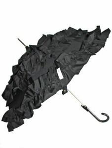 Regenschirm Stockschirm Pagodenschirm schwarz mit 3fach Rüschen von Recrea