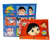 Ryan's World 2 School Folders & Pencil Pouch Portfolio School Supplies