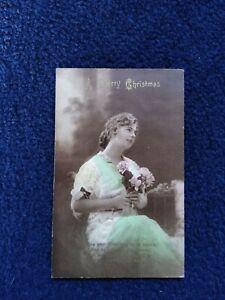 Vintage Philco Christmas Postcard, Edwardian Lady Holding Roses No 1008/2