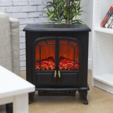 Wood Stove Style Electric Fire 2-Door Log Effect 1000W and 2000W Black