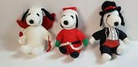 Lot of 3 Plush Snoopys Stuffed Animals Christmas, Valentines PEANUTS PRE-OWNED