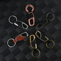 Motorcycle Metal Alloy Buckle Keyfob Keychain Genuine Leather Car Key Ring