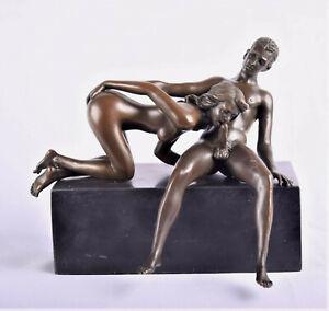 Bronzeskulptur Pärchen beim Liebesakt Bronze Erotik Paar Akt