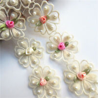 1yd Flower Pearl Lace Edge Trim Wedding Applique Ribbon Embroidered Sewing Craft