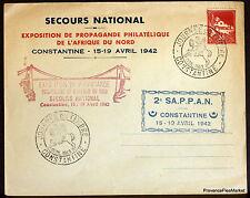 ALGÉRIE 1942 LETTRE SECOURS NATIONAL CONSTANTINE  ENVELOPPE 165CA154